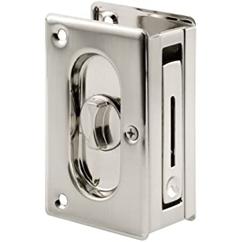 Prime-Line N 7367 Pocket Door Privacy Lock with Pull, 3-3/4-Inch, Satin Nickel