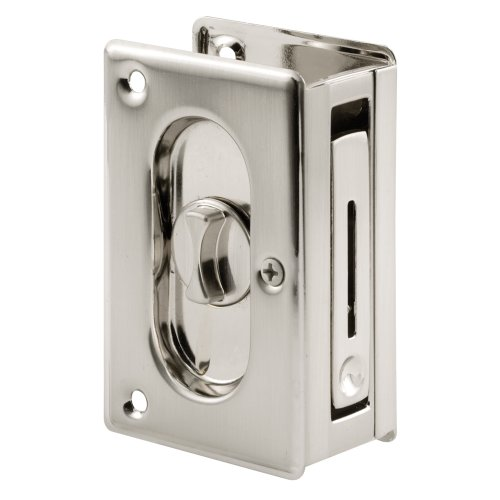 "Prime-Line N 7367 Pocket Door Privacy Lock with Pull - Replace Old or Damaged Pocket Door Locks Quickly and Easily – Satin Nickel, 3-3/4"" (Pocket Lock Door Nickel)"