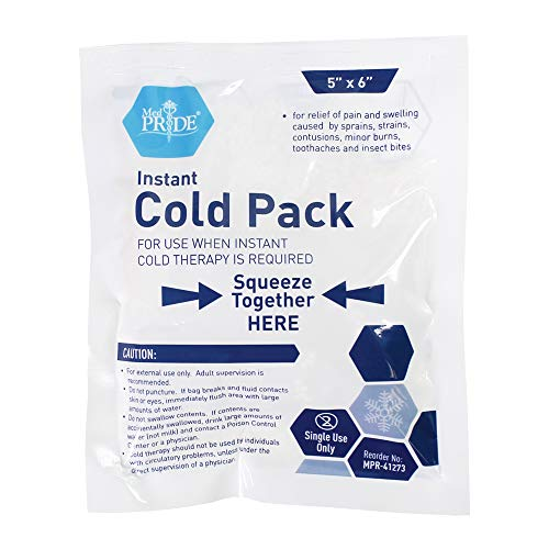 "Medpride Instant Cold Pack (5""x 6"") – Set of 24 Disposable Cold Therapy Ice Packs for Pain Relief, Swelling, Inflammation, Sprains, Strained Muscles, Toothache – for Athletes & Outdoor Activities"