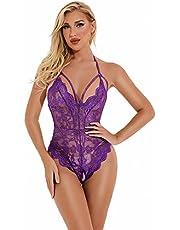 Evelife Vrouwen Sexy Lingerie Kant Bodysuit Eendelige Teddy Lingerie Transparant Diepe V Bodysuit Lingerie