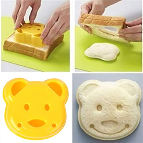 Taka Co Bread Cutter Diy Cartoon Bear Design Sandwich Cutter Bread Biscuits Embossed Device Cake Tools Rice Balls Lunch Diy Mould Tool 2pcs-