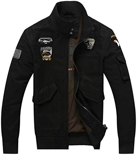 Slim Outdoor Invernale Parka color Uomo 08 Pilota Stile Da Schwarz Campo Xl Pile Giacca Cotone Size Semplice In Jacket f711Bq