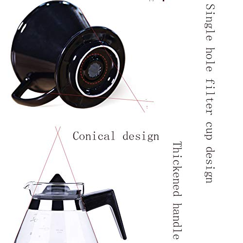 SYY-US Coffee Pot Set Ceramic Filter Cup with Glass Pot Household Hand Coffee Pot Teapot Multi-Function Drip Type Thin Mouth Pot with Handle by SYY-US (Image #7)