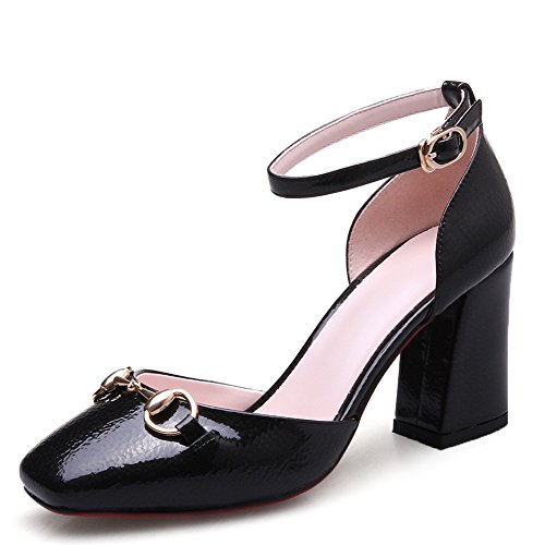 Nine Seven Moda Cuero Puntera Cuadrada Zapatos de Tacón Grueso con Correa de Tobillo para Mujer negro