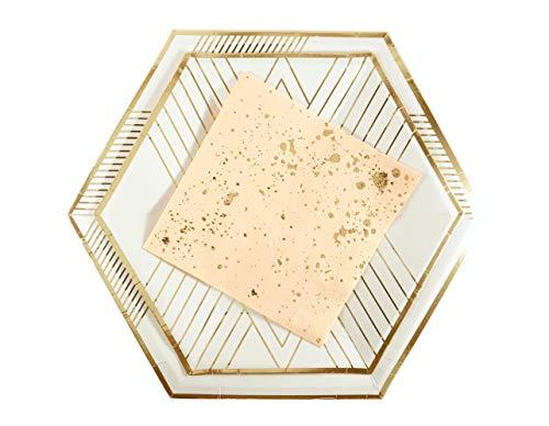 - 36 Piece Hexagon White & Rose Gold Foil Disposable Set | 8 Large Dinner &  8 Small Dessert Plates | 16 Napkins | Shower Engagement | Mid Century Modern Elegant Minimalist Art Deco | Metallic Chevron