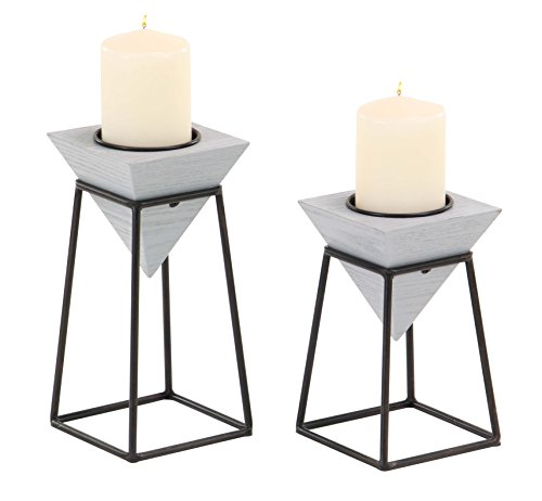 Deco 79 45330 Candle Holder, Gray, Black (Candle Gray Holders)