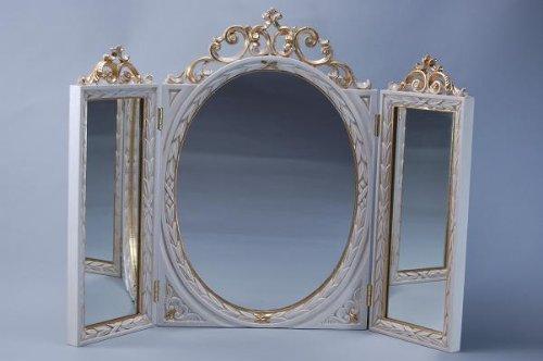 三面鏡 アイボリー テーブルミラーアンティーク ロココ調 鏡 ヨーロッパ B005O66RFW