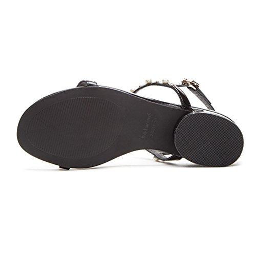 Strass Des À Sunny Nouveau 2018 Perle Plat Noir Chaussures Femmes Été Style Plage Sandales x48vwYfS