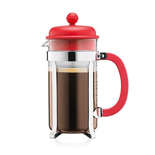Bodum French Press 8 Cups 1 L Cafetera émbolo, Vidrio, plástico, Acero, Rojo, Centimeters