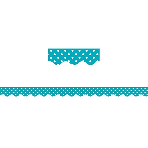 Teacher Created Resources Teal Polka Dots Scalloped Border Trim (5494) ()