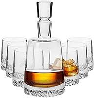 Krosno Decantador Jarra de Whisky 950 ML   6 x Vasos de Whisky 300 ML   Fjord Collection Uso en Casa