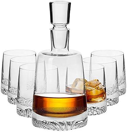 Krosno Decantador Jarra de Whisky 950 ML | 6 x Vasos de Whisky 300 ML | Fjord Collection Uso en Casa, Restaurante y en Fiestas