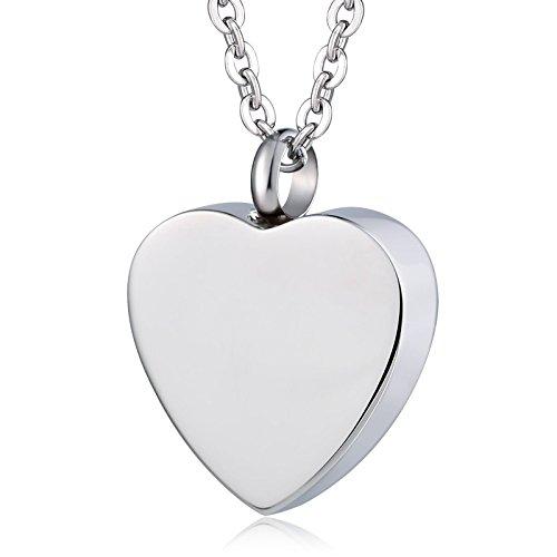 KnSam Urn Necklace for Women Men Heart Blank Ash Cremation Memorial Pendant ()