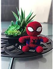 El Increible Hombre Araña Spiderman Peluche Amigurumi Bordado de Estambre al Estilo Crochet 16X14X9
