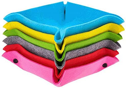 ORIGA 6 Pcs Felt Valet Tray, DIY Travel Valet Catchall Catch All Tray, Bedside Storage Basket Box with 4 Snaps for Jewelry, Key, Cell Phone, Wallet, Watches