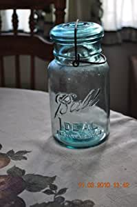 Antique Green Canning Jar glass lid/bail Patented July 14, 1908,