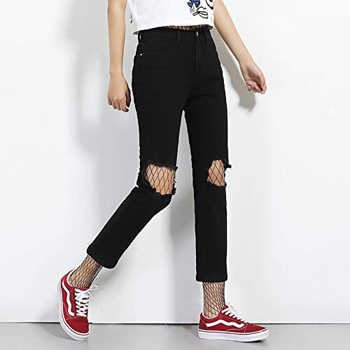 Mi Maigre Noir De Femmes 5l Sexy Femme Déchiré Mode Longueur Droite Nouvelle Taille Arrivée Rlwfjxh Printemps Trou Cheville La Jeans Plus O7xHnwTq