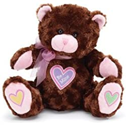 """""""Be Mine"""" Brown Plush 10"""" Valentine Teddy Bear with Hearts"""