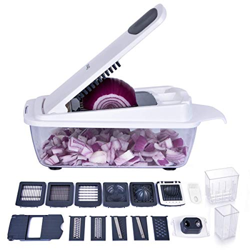 Vegetable Chopper, Ommani Onion Chopper 12 in 1 of Less Vapor, Professional 420 Detachable Blades Vegetable Slicer Cutter, 1.5 Liters Large Container/Finger Guard/Brush, Easy to Clean, BPA Free