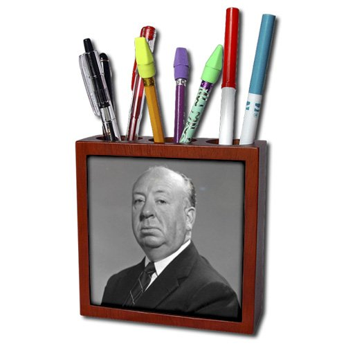 ph_107174_1 FabPeople - Arts and Entertainment - Sir Alfred Hitchcock (PD-US) - Tile Pen Holders-5 inch tile pen holder