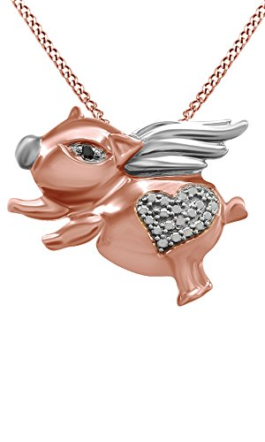 Jewel Zone US Black and White Natural Diamond Flying Pig Pendant Necklace 14k Rose Gold Over Sterling ()