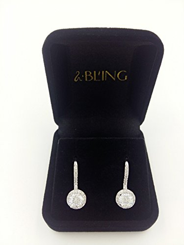 Sbling AAAA Plaqué platine Oxyde de Zirconium Halo Boucles d'oreilles pendantes (3,5carat au total)