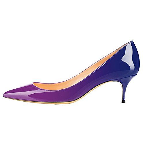 Lovirs Ufficio Da Donna Slip On Pumps In Vernice Martello Tacchi A Punta Scarpe 6,5 Cm Viola-blu