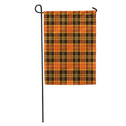 Semtomn Garden Flag Brown Pattern Halloween Tartan Plaid Orange Autumn British Checkered Clan Home Yard House Decor Barnner Outdoor Stand 28x40 Inches Flag ()