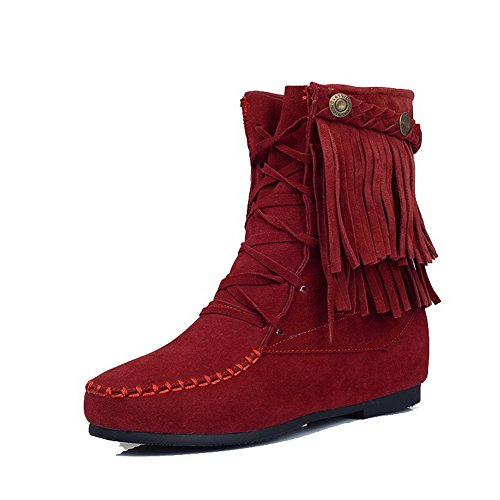 Low Boots Allhqfashion Closed Claret Imitated Toe Zipper Women's Heels Suede Round zzqC5