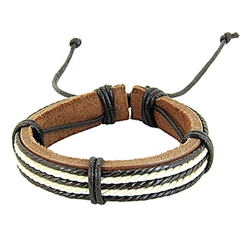 Wintefei Chic Surfer Tribal Multiwrap Men's Faux Leather Hemp Rope Cuff Bracelet Bangle