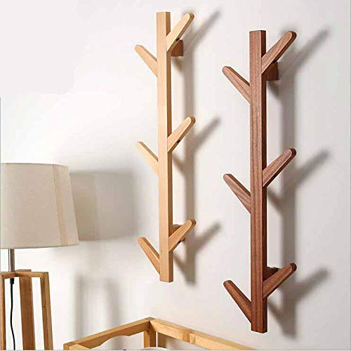 QSBY Coat Rack Solid Wood Tree Twig Wall Hook Towel Rack for Home Office Hallway Waiting Room Living Room Bedroom 6 Hooks Light Yellow