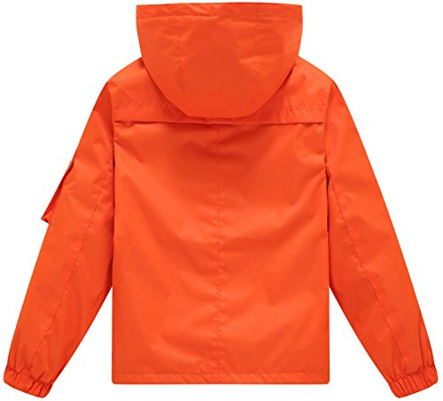 Wantdo Boy's Ultra Light Packable Travel Jacket Outdoor Windcheater Zipped Hoodies for Traveling(Lily Orange Yellow, 14/16) by Wantdo (Image #2)