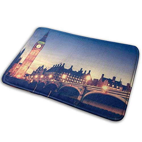Jingclor Welcome Doormat, Entrance Floor Mat Rug Indoor Outdoor Front Door Mat with Non-Slip Rubber Backing, Printing Doormats with Big Ben Night London River Bridge, 15.8''WX23.6''L -