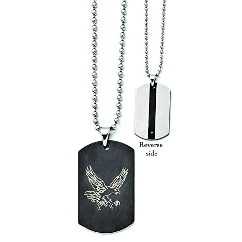 Chisel+Stainless+Steel+Eagle+Dog+Tag+Black+IP-plated+Polished+Necklace+22%22