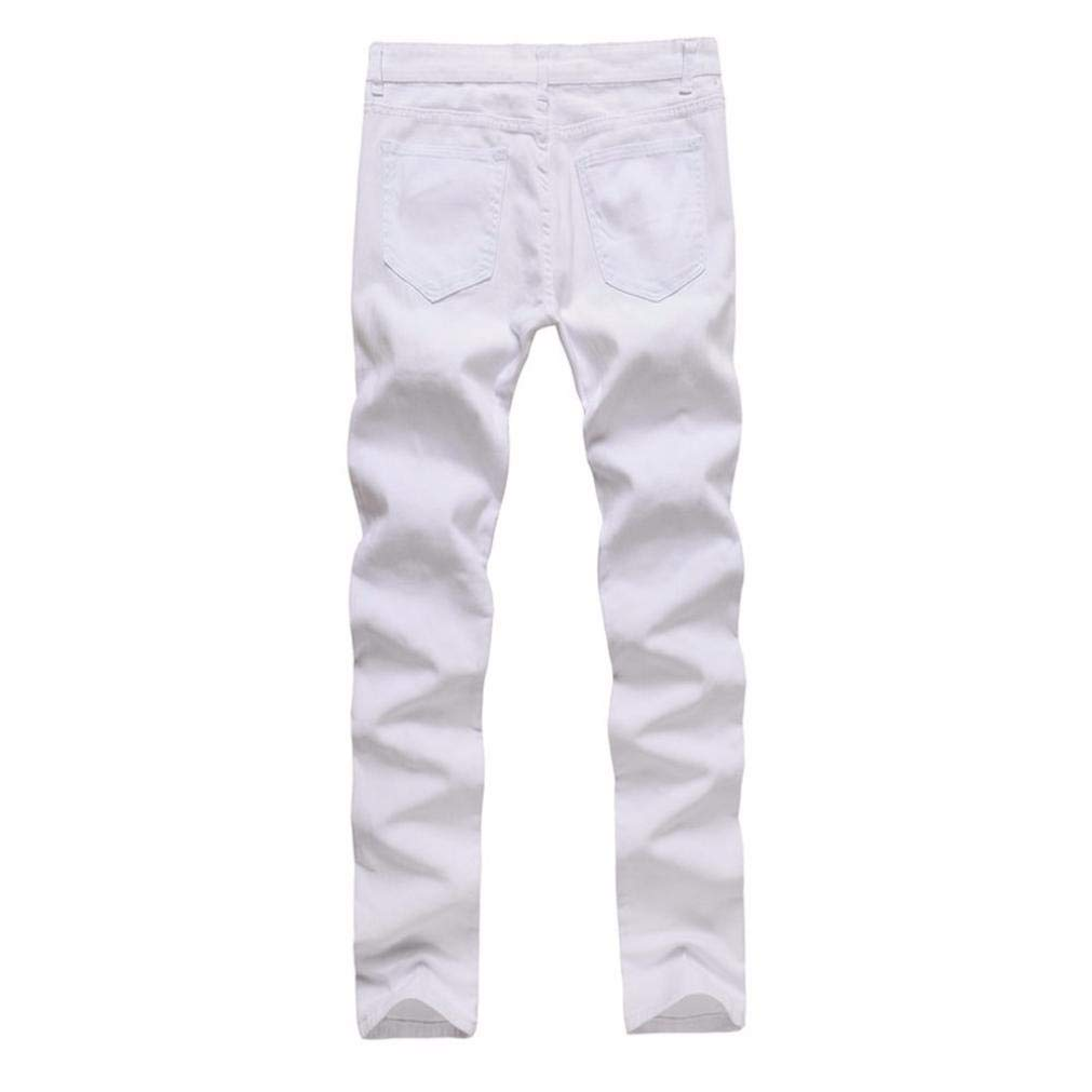 Realdo Clearance Sale, Casual Stretchy Ripped Skinny Jeans Destroyed Solid Slim Fit Pants Daily(30,White) by Realdo (Image #2)