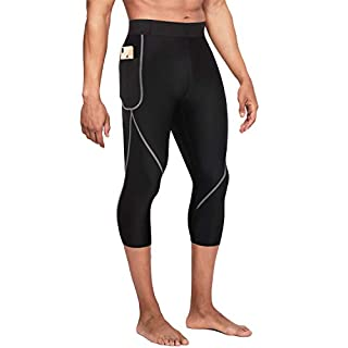 Wonderience Men Neoprene Slimming Pants for Weight Loss Hot Thermo Sauna Sweat Capri Fitness Workout Body Shaper (Black, M)