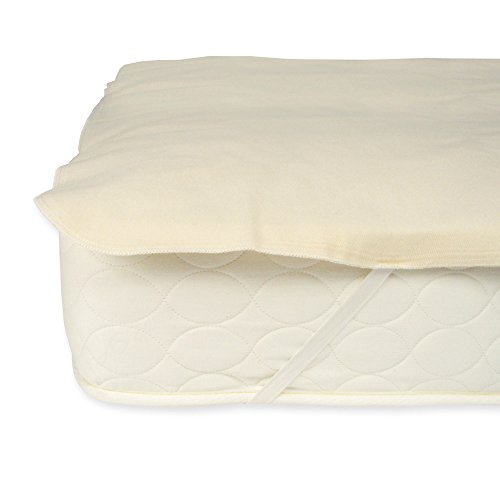 Organic Flannel Mattress Pad - Naturepedic Organic Waterproof Protector Pad with Straps - Twin - 38