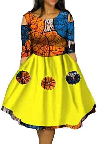 1753d7522fc Joyccu Women Dashiki African Print Mini Plus Size Batik Swing Party Dress