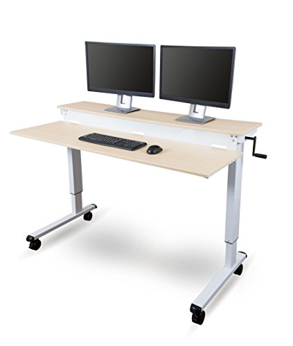 Stand Up Desk Store Crank Adjustable Sit to Stand Up Computer Desk - Heavy Duty Steel Frame, 60 Inches, White Frame/Birch Top