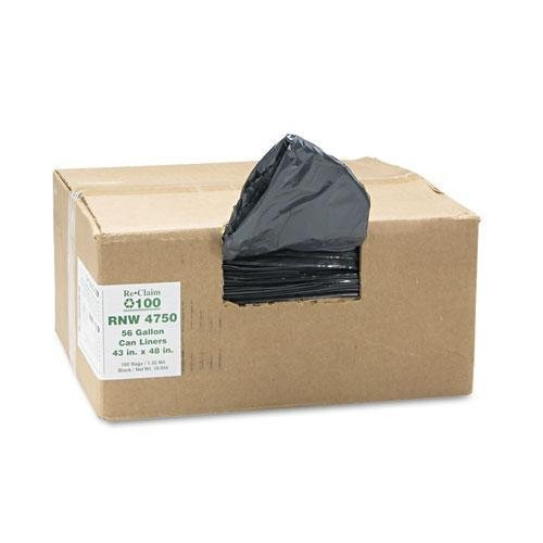 Earthsense Commercial - Recycled Can Liners, 56gal, 1.25mil, 43 x 48, Black, 100/Carton RNW4750 (DMi CT by Earthsense Commercial