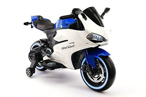 Street Racer New Ducati Motorcycles Style 12V Electric Kids Ride-ON Motorcycle | Blue - New Ducati Motorcycle