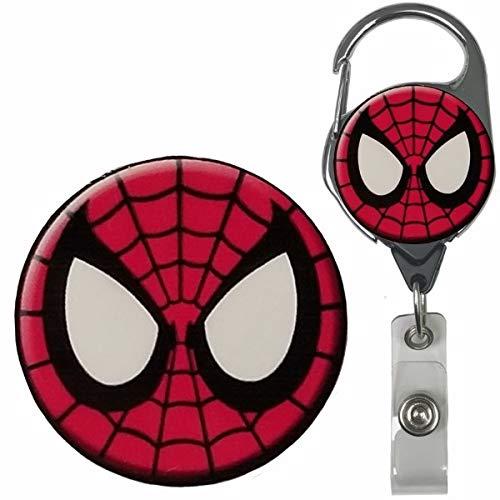 Spiderman Inspired Symbol Real Charming Premium Decorative ID Badge Holder (Metal Carabiner)