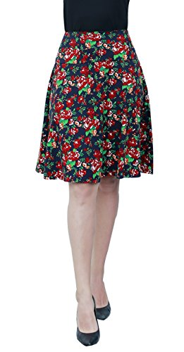 La La Print Skirt - Marycrafts Women's Summer Floral High Waisted Knee Length Midi Skirt with Pocket XXL Red Carnations