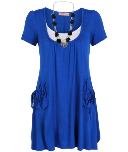 KRISP Womens Mini Dress Necklace Shortsleeve Tunic Undershirt Twin Set Top(Royal Blue,14)