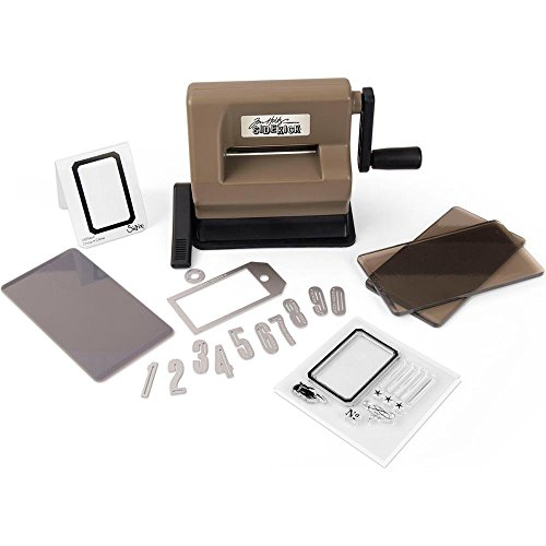 Sizzix Sidekick Starter Kit Featuring Tim Holtz Designs - Brown & Black with Cutting Pads, Embossing Pad, Embossing Folder, Dies and Stamps - Item 662535