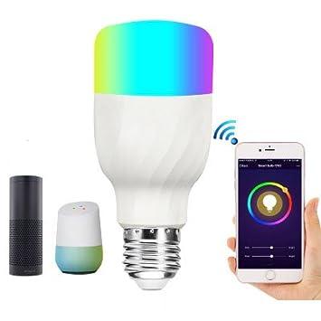 Xueyanwei RGB Alexa Control De Voz Bombillas LED Inalámbrico WiFi Inteligente Bombilla Hogar Inteligente Bombilla WiFi App Control Remoto Inalámbrico ...