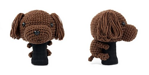 Amimono Toy Poodle Driver Golf Head Cover, Dark Brown, 460cc (Poodle Cover)