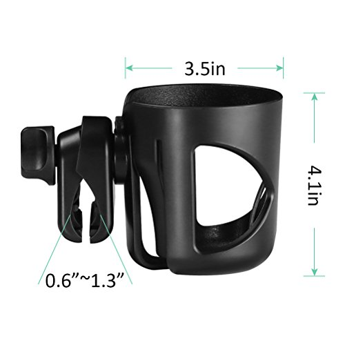 AULLY Park Stroller Cup Holder, Drink Holder for Wheelchair, Bicycle, Office Chair, Scooter, Adjustable Water Bottle Cage (Black) by AULLY PARK (Image #1)