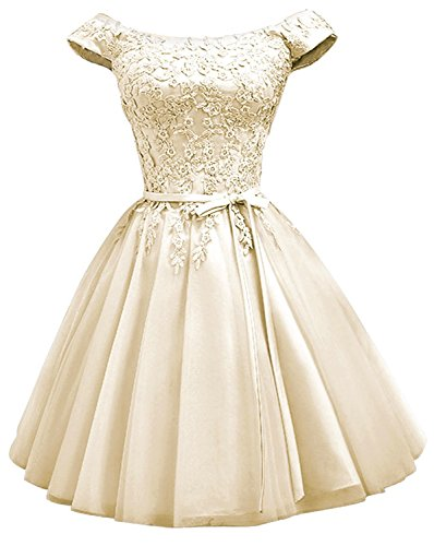 be9b25d6bd26 ... House Women Champagne Tulle Homecoming Dresses 2019 for Juniors Off The  Shouder A Line Short Prom Party Dress Ball Gown with Lace Appliqued. ; 