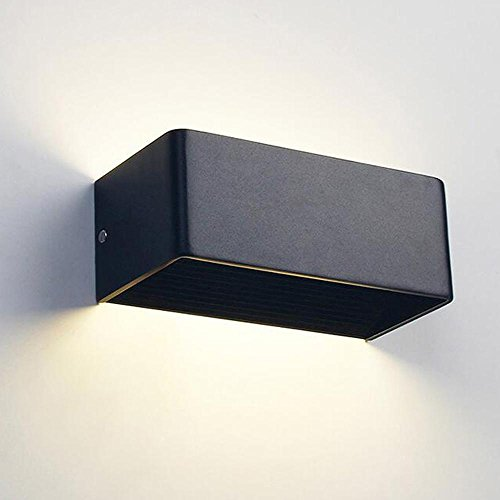 Moderne simple LED rectangulaire en aluminium étanche mur lampe, 5W 110-220V 3200K intérieur Wall Light lumière chaude 2 LEDS (noir)